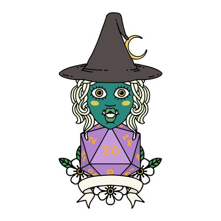 Retro Tattoo Style half orc witch character with natural 20 dice roll