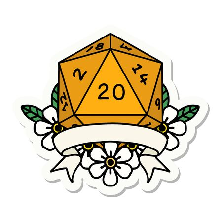 sticker of a natural 20 critical hit D20 dice roll