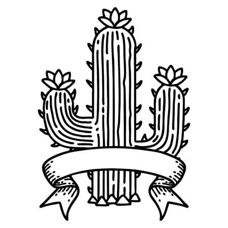 traditional black linework tattoo with banner of a cactus  イラスト・ベクター素材