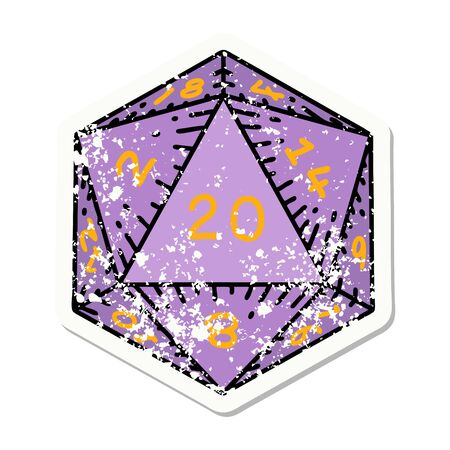 grunge sticker of a natural 20 D20 dice roll 向量圖像