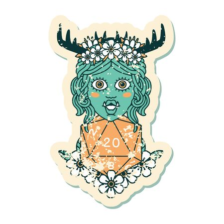 Retro Tattoo Style half orc druid with natural twenty dice roll  イラスト・ベクター素材