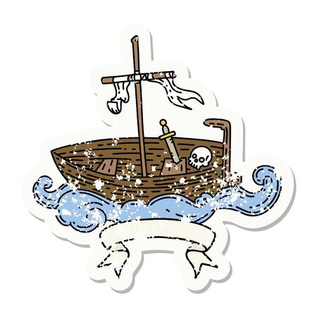worn old sticker of a tattoo style empty boat with skull
