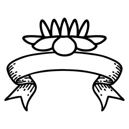 traditional black linework tattoo with banner of a lily pad flower