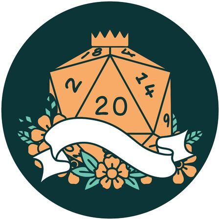 icon of natural twenty D20 dice roll 向量圖像