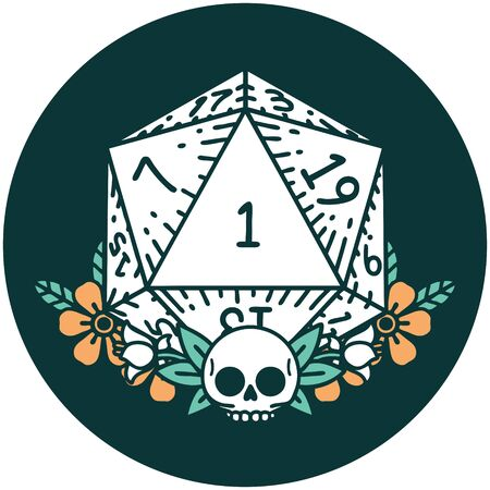 icon of natural one dice roll with floral elements