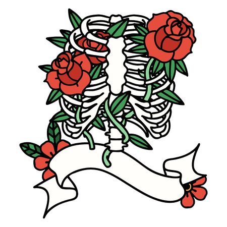 traditional tattoo with banner of a rib cage and flowers