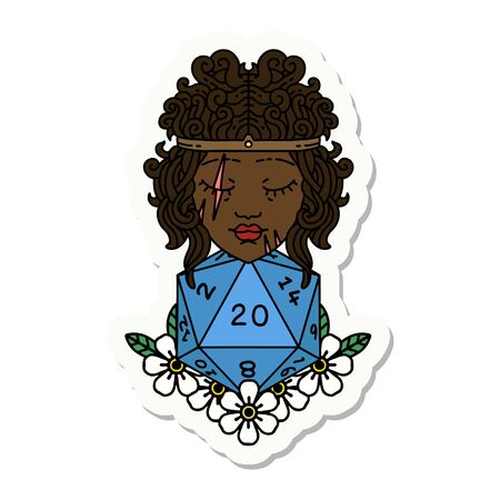 sticker of a human barbarian with natural twenty dice roll