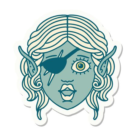 sticker of a elf rogue character face