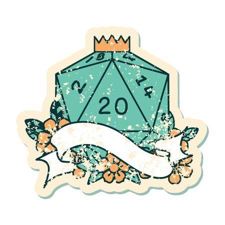 Retro Tattoo Style natural twenty D20 dice roll 向量圖像