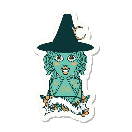 sticker of a half orc mage with natural 20 dice roll