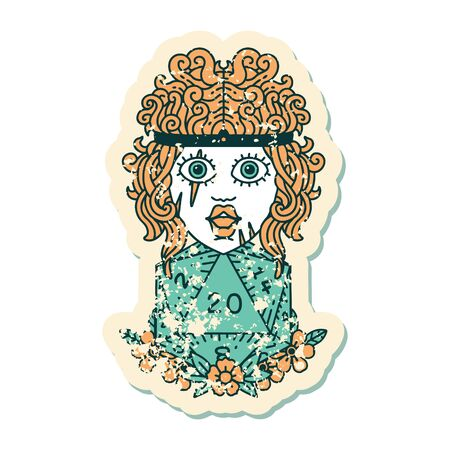 grunge sticker of a human barbarian with natural twenty dice roll