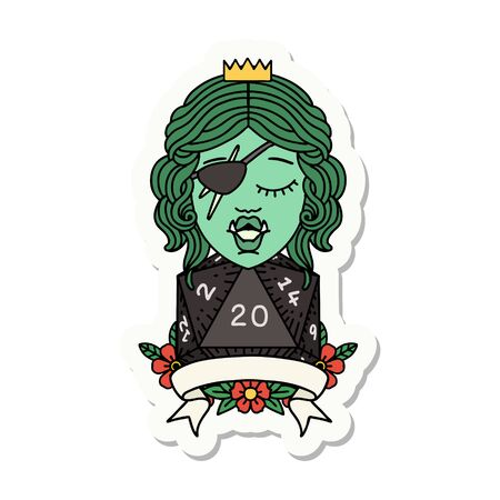 sticker of a half orc rogue character with natural twenty dice roll