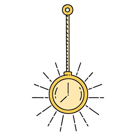 illustration of a traditional tattoo style gold pocket watch