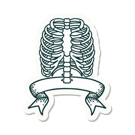 tattoo style sticker with banner of a rib cage