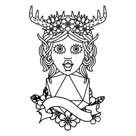 Black and White Tattoo linework Style elf druid with natural twenty dice roll