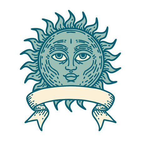 traditional tattoo with banner of a sun with face