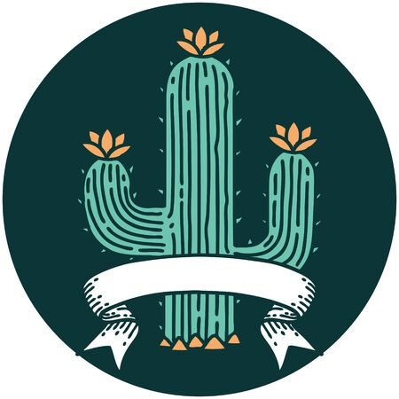 tattoo style icon with banner of a cactus