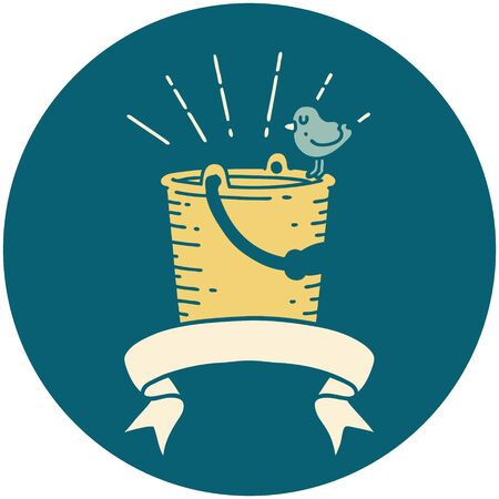 icon of a tattoo style bird perched on bucket of water Illustration