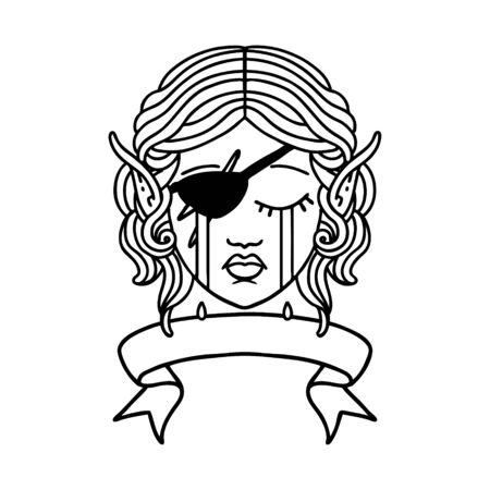 Black and White Tattoo linework Style crying elf rogue character face with banner Illustration
