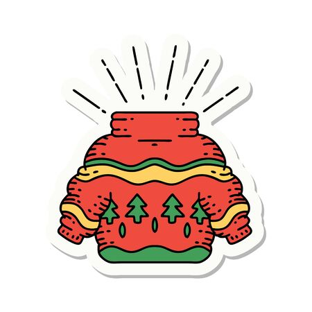 sticker of a tattoo style christmas jumper