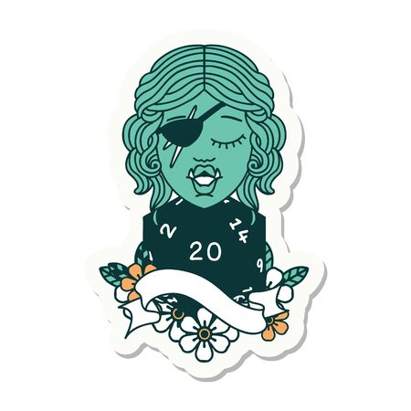 sticker of a half orc rogue with natural twenty dice roll Illustration
