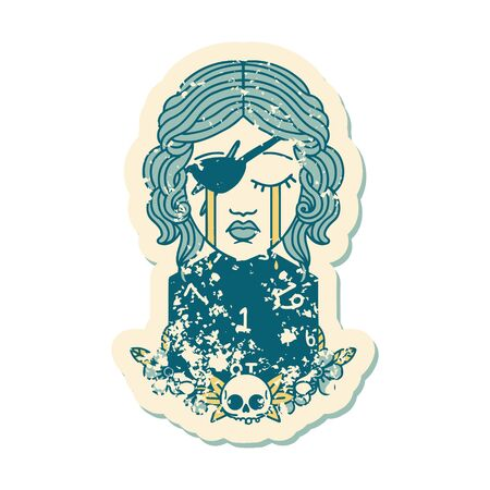grunge sticker of a crying human rogue with natural one d20 roll