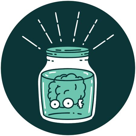 icon of a tattoo style brain in jar Vetores