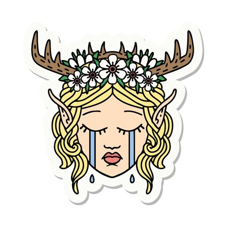 sticker of a crying elf druid character face