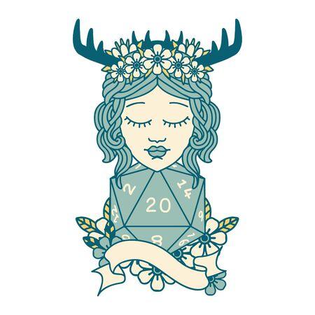 Retro Tattoo Style human druid with natural twenty dice roll Illustration