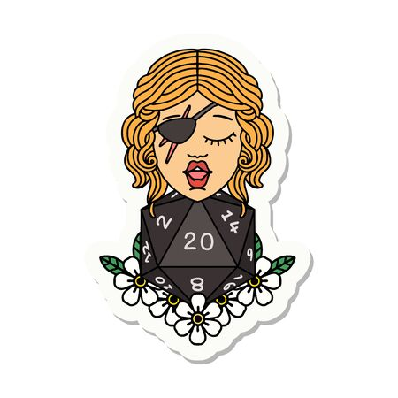 sticker of a human rogue with natural twenty dice roll