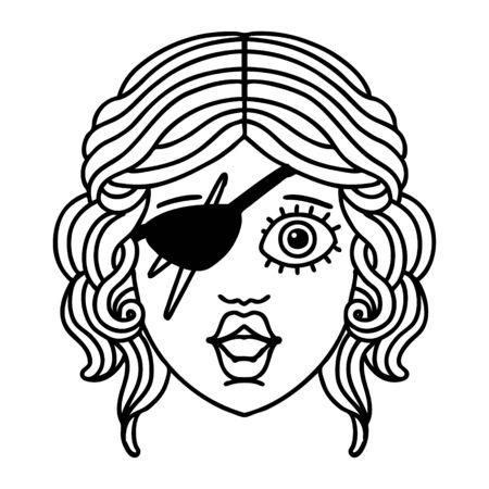 Schwarz-Weiß-Tattoo-Linienstil menschlicher Schurkencharakter