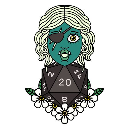 Retro Tattoo Style half orc rogue with natural twenty dice roll