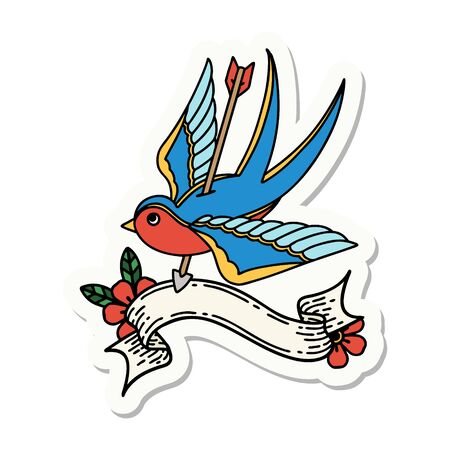 tattoo style sticker with banner of a swallow pierced by arrow