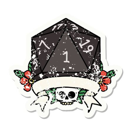 grunge sticker of a natural one d20 dice roll