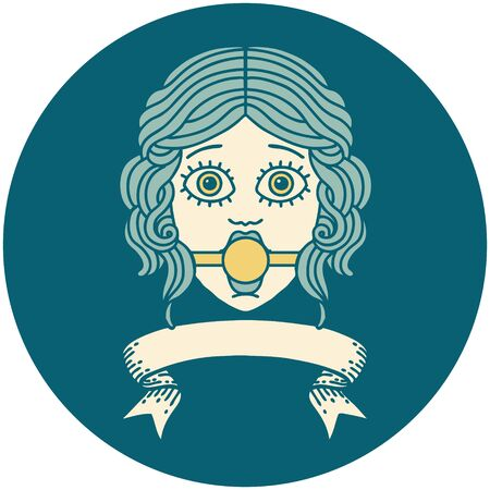 tattoo style icon with banner of female face wearing a ball gag Vettoriali