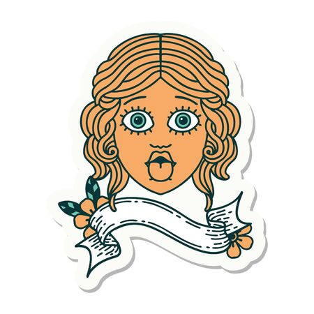 tattoo style sticker with banner of female face sticking out tongue