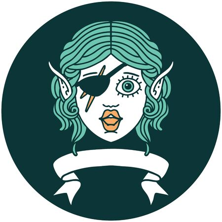 icon of elf rogue character face with banner Illustration