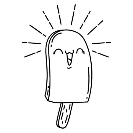 illustration of a traditional black line work tattoo style ice lolly
