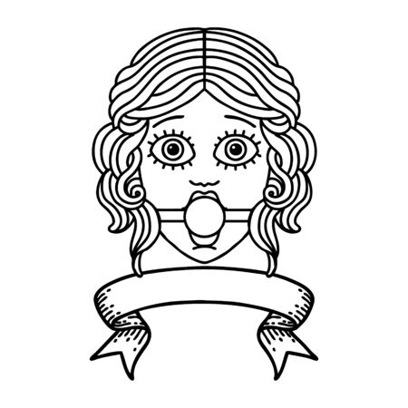 traditional black linework tattoo with banner of female face wearing a ball gag Vettoriali