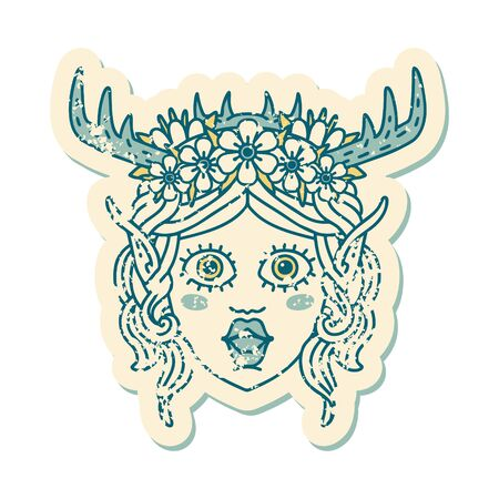 Retro Tattoo Style elf druid character face