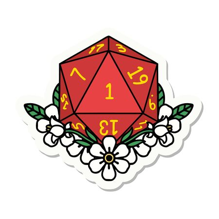 sticker of a natural one dice roll with floral elements