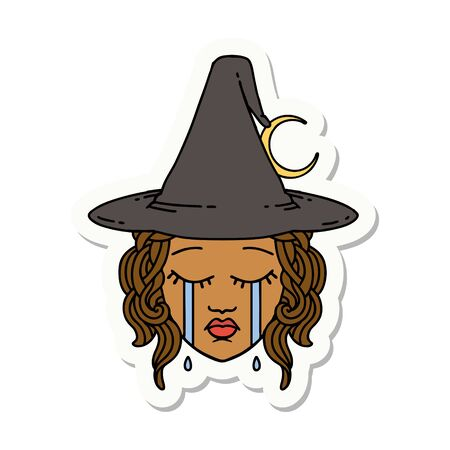sticker of a crying human witch character