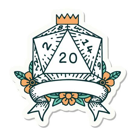 sticker of a natural 20 critical hit D20 dice roll