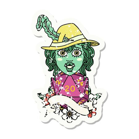 grunge sticker of a singing half orc bard character with natural twenty dice roll