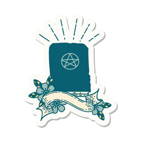 sticker of a tattoo style spellbook Illustration