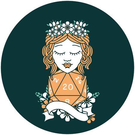 Human druid with natural twenty dice roll Illustration
