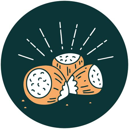 Icon of a tattoo style hazelnuts Illustration