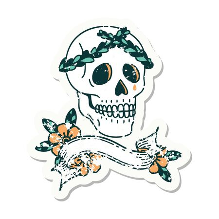 worn old sticker with banner of a skull with laurel wreath crown