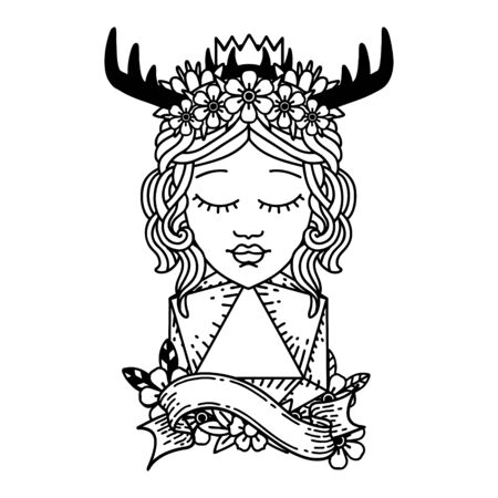 Black and White Tattoo linework Style human druid with natural twenty dice roll Illustration