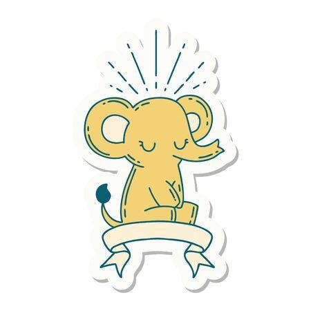 sticker of a tattoo style cute elephant